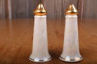 Vintage Pair of White Iridescent Salt and Pepper Shakers