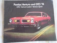 PONTIAC VENTURA & GTO Gamme brochure 1974 marché canadien