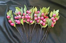 Stemmed Berries & Leaf Fake Faux pink raspberries. Crafts/Decoration lot of 12