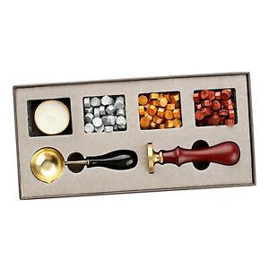 4PCS/Set Vintage Wax Seal Stamp Kit Wax Spoon for Wedding Envelopes Kits Set