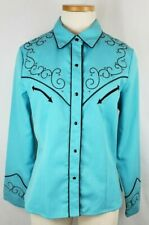 Scully Women Western Shirt Turquoise Cross Snap Long Sleeve Embroidered Sz M New