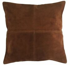 Soft Genuine Suede Leather Pillow Cover Cushion Cover Hand Printed Cotton Back
