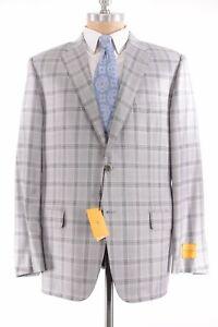 Hickey Freeman NWT Sport Coat Sz 44R Silver Black Plaid Silk Wool Beacon $1,295