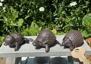 Cast Iron Animal Key Holders Tortoise, Hedgehog Or Frog Hidding Place In-outdoor