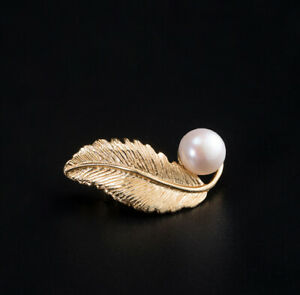 I04 Brooch Pin Leaf From Gold Plated Silver 925 With Freshwater Pearls