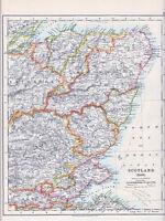 1912 MAP ~ SCOTLAND EAST ~ PERTH STIRLING ABERDEEN ETC