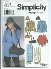 S 5253 sewing pattern JACKET trendy PONCHO SCARF HAT duffel BAG Purse 6,8,10,12