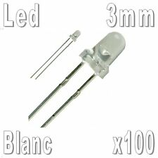 100x Led 3mm Blanches 16000mcd
