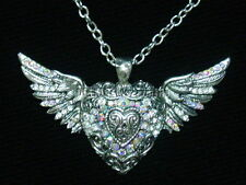 Silvertoned STEAMPUNK GOTHIC Victorian Heartwings NECKLACE