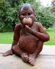 Orangutan Sitting Statue Figurine Jungle Animal Monkey Decor Resin 9 inches Ape