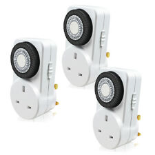 More details for 3 pack 24 hour 24hr timer switch mains plug in clock uk socket 3 pin plug 13a