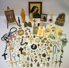 Vintage - Modern Religious Mixed Lot Statues Medals Cross Crucifix Saints Rosary
