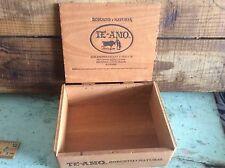 Vintage Te-Amo 10 Count Wood Cigar Box, Empty