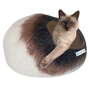 Cat Bed Handmade Cat Cave NZ Merino Wool Large Felt Pet Bed Igloo Cat Basket