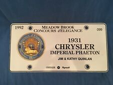 1931 CHRYSLER IMPERIAL Concours d' Elegance Brass Grille Medallion License Plate
