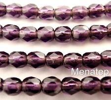 50 4mm Czech Glass Firepolish Beads: Silver Lined - Tanzanite
