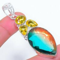 "Bi-Color Tourmaline, Citrine Ethnic Jewelryr Jewelry Pendant 2.6""  AK-3266"