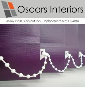 "Unilux Welded Blackout Waterproof PVC Replacement Vertical Blind Slats 3.5"" 89mm"