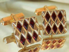 Neat Swank Signed Vintage 60's Modernist Red Glass Cuff Links 559JL6