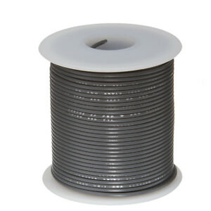 """14 AWG Gauge Stranded Hook Up Wire Gray 25 ft 0.0641"""" UL1015 600 Volts"""