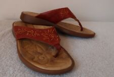 Red Sandals Size 8 PIKOLINOS Slip On Embroidered