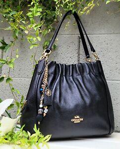 New COACH 1454 black pebbled leather ruched MAYA purse shoulder bag satchel hobo