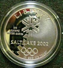 2002 Proof Silver Salt Lake City Winter Olympic Games Comm. Coin w/ Box & COA