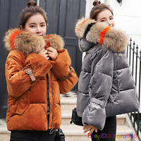 UK Women ladies quilted Winter Velvet coat fur collar Hooded jacket parka down