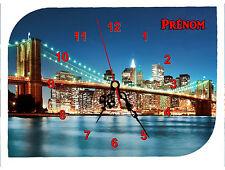 horloge pendule murale REF F012 NEW YORK USA  PRENOM TEXTE AU CHOIX