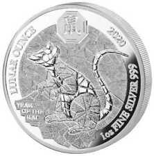 Ruanda Lunar 2020 Jahr der Ratte Year of the Rat 1 OZ Silber Silver PP Proof