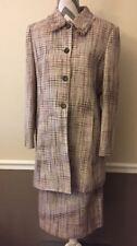 A Line Suits Womens Cosmopolitan Tweed Jacket Blazer Skirt 12 Brown White Tan