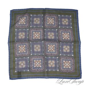 Anonymous Made in Italy Cashmere Wool Olive Blue Medallion Voile Pocket Square