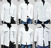 Designer Mens Casual Formal Grandad Collar Shirt Slim Fit White S - XXL Wedding