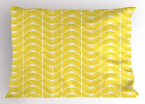 White and Yellow Pillow Sham Decorative Pillowcase 3 Sizes Bedroom Decoration
