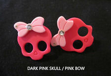 Sugar Skull Skullette Earrings-Pink Skull-Steel Hypoallegenic Post Stud