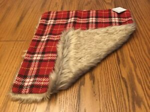 """Pottery Barn Nottingham Plaid with Faux Fur Back Pillow Cover Red 20"""" NWT decor"""