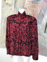 EJ Harper Vintage Floral Red Black Blouse Top A5 SZ 10 Large