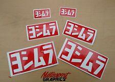 YOSHIMURA 'Logo' Sticker set X6 Red Vinyl Sz x2L x2M x2S  Suzuki GSX-R FREEPOST