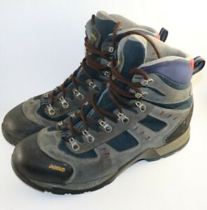 Asolo Fugitive GTX Mens 12 Gore-Tex Waterproof Hiking Leather Boots blue Gray