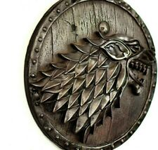 Game of Thrones Direwolf House of Stark on the Shield Iron GoT Wall Home Decor