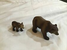 2003 Retired Schleich Brown Grizzly Bear and Cub Figures Vg Condition