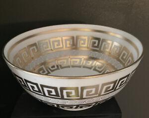 Gold ~Greek Key ~ Decorative Table Bowl~ Vintage~ Hard to Find Pattern~**Read**