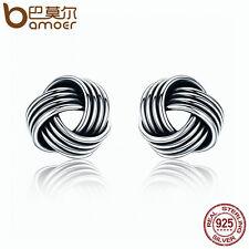 Bamoer S925 Sterling Thai silver Earrings Retro hair ball female model For Women
