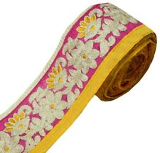 Vintage Saree Border Indian Craft Trim Floral Embroidered Hot Pink Ribbon Lace