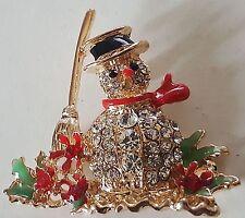 "Christmas Snowman Rhinestone Crystal And Enamel Gold Plated Pin Brooch 2"""