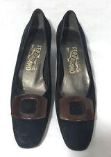 SALVATORE FERRAGAMO Vintage Black Suede Classic Low Heels Shoes Size 7.5 AAA