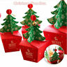 5 Pcs Christmas Tree Gift Box Paper Apple Candy Storage Bag 3D with Bells Wrap