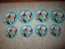 8 Older Tin Mickey Mouse, Pluto & Goofy Toy Dishes!!!