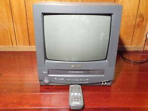 """Retro Sharp13"""" VCR VHS Combo CRT TV & Remote Great for Retro Gaming! 13VT-N100"""