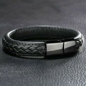 Mens Leather Braided Bracelet Wristband Stainless Steel Clasp Jewellery Gifts YM